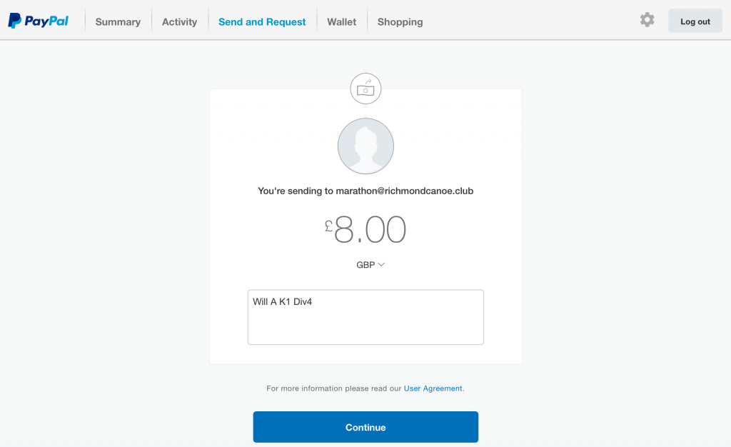 PayPal website - send money part 2